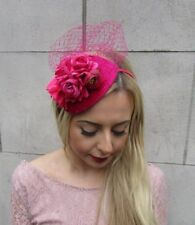 b38cb54ccaae2 Hot Pink Cerise Rose Flower Net Fascinator Hair Headband Races Teardrop Vtg  4974