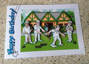 handmade birthday card 3d decoupage humorous male bowls player