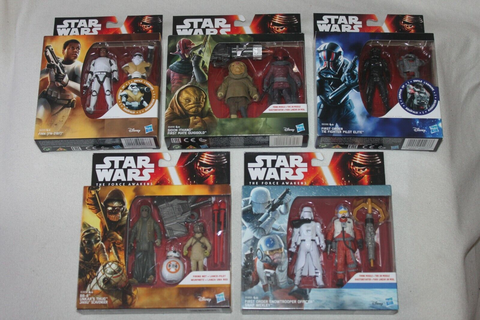 5 x STAR WARS THE FORCE AWAKENS boxsets 9 figures inc Snap Wexley + Finn FN-2187