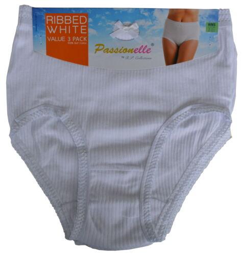 12er Pack Passionelle Damen Geripptes Weiß Super Weich Baumwolle Slip