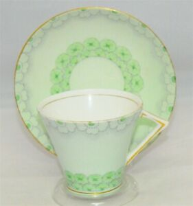 Gladstone-Light-Green-Art-Deco-Teacup-amp-Saucer-Tea-Cup