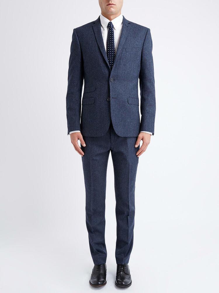 Ben Sherman Tailleur Slim British Tweed Veste, Bleu, Taille 42r