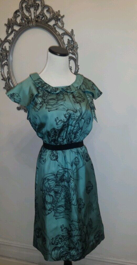 New Liefsdottir Anthropologie Cap Sleeve Floral Sleeveless Dress Size 6