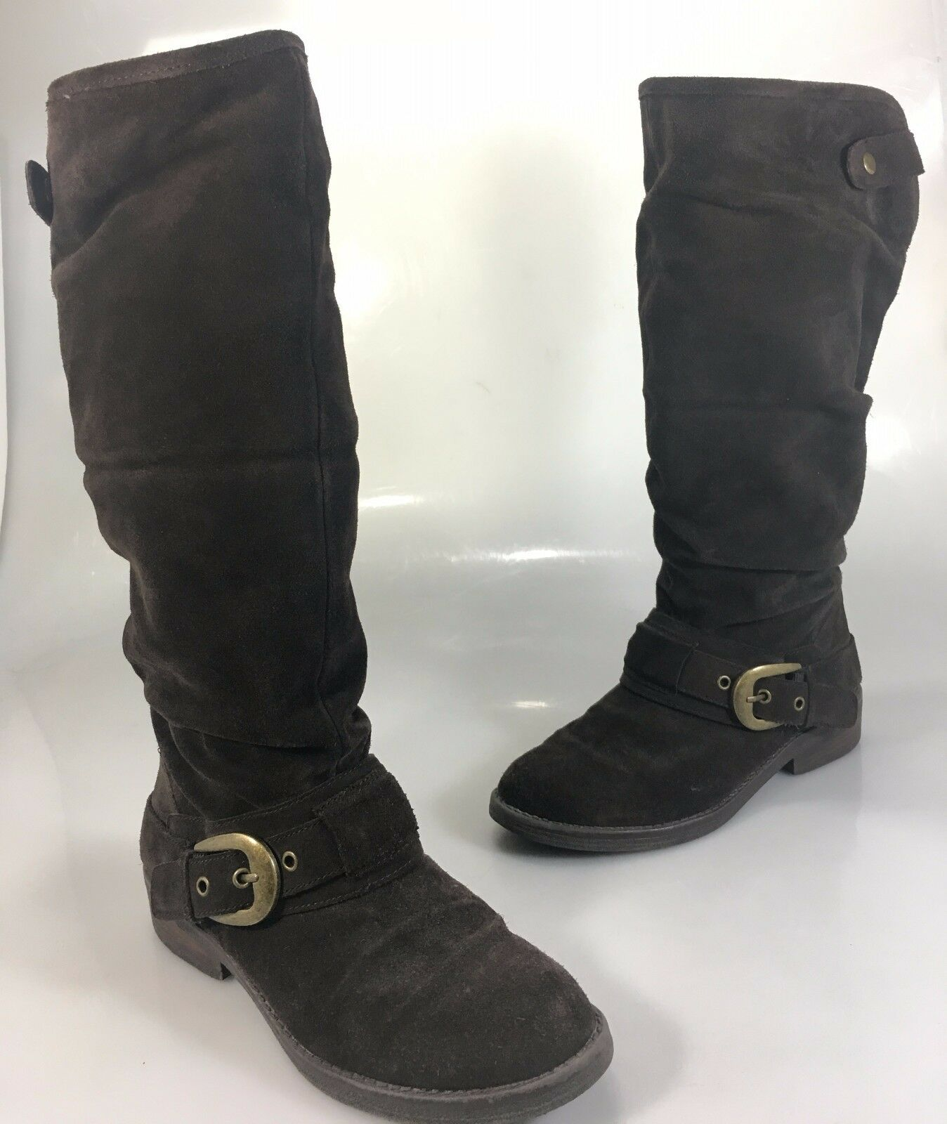 Kelly & Katie Damenschuhe 8.5 Braun Suede Knee-High Riding Stiefel Brass Buckle