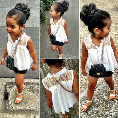 New Baby Girls Kids Princess Sleeveless Lace Casual Tops Shirt T-Shirt Blouse