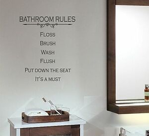Image Is Loading Bathroom Rules Wall Decal Removable Sticker Quote Words
