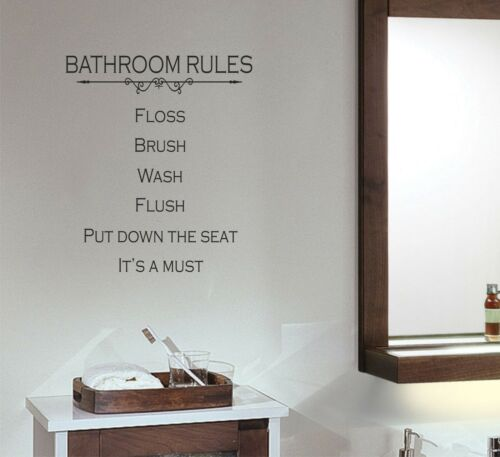 Bathroom Rules wall decal removable sticker quote words room shower restroom