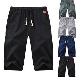 Men-039-s-Shorts-Solid-Drawstring-Cotton-Linen-Loose-Beach-Summer-Hot-Pants-Shorts