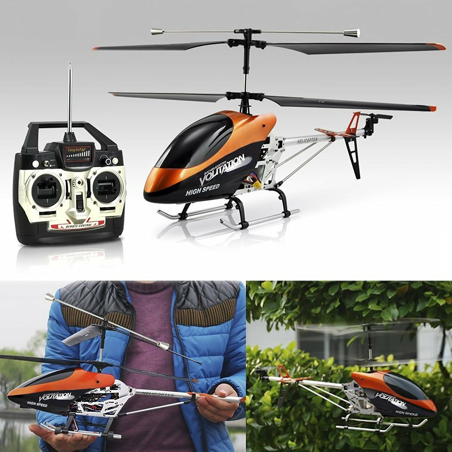 LARGE HELICOPTER DOUBLE HORSE VOLITATION ALLOY METAL FRAME RC GYROSCOPE 9053G