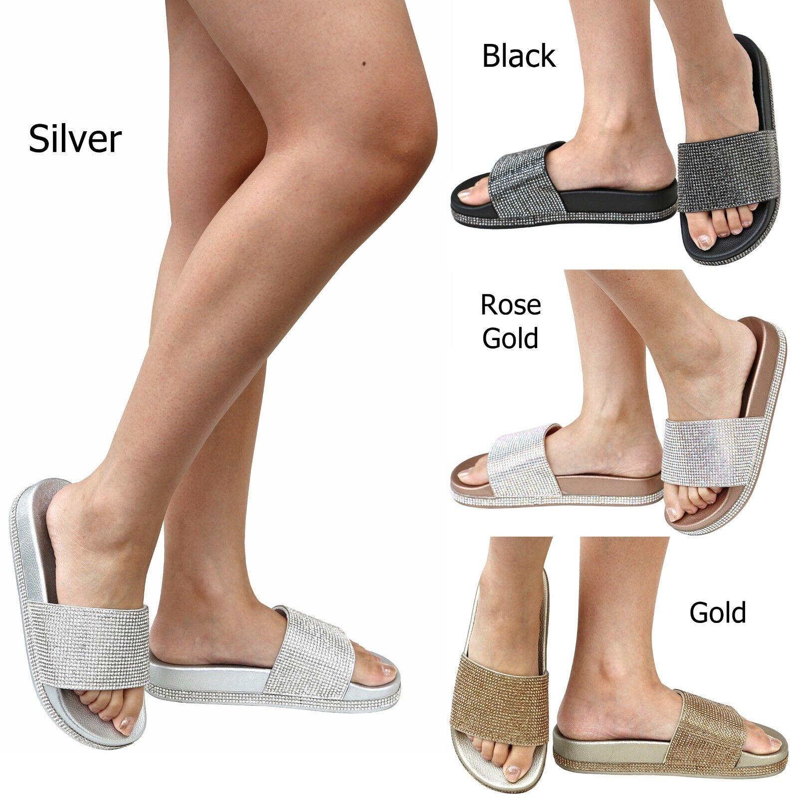 New Women Band FVS7 Jewel Rhinestone Glitter Band Women Slippers Open Toe Sandals Slides e93820
