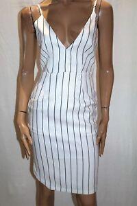 LUVALOT-Brand-White-Black-Stripe-V-Neck-Pencil-Dress-Size-10-BNWT-TP112