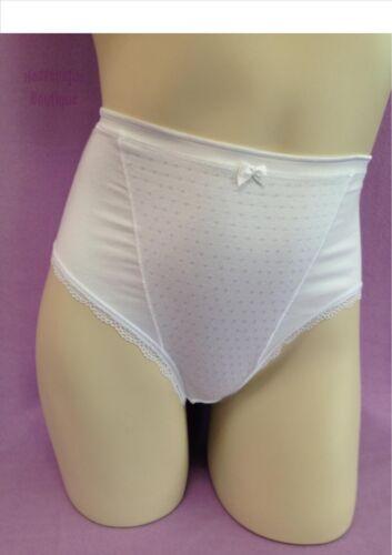 Ex magasin riche coton blanc contrôle ferme haute jambe repéré bow avant pleine briefs