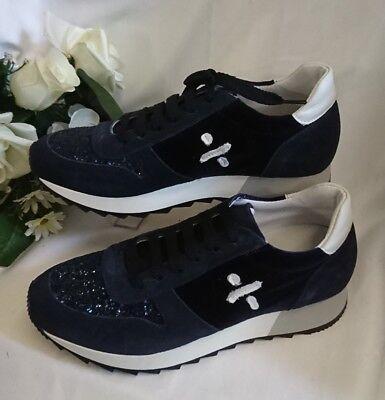 Damen Mädchen Schuhe Sneakers MADE IN ITALY Gr. 39 Blau Glitzer