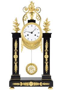 PORTIQUE-EMPIRE-Kaminuhr-Empire-clock-bronze-horloge-antique-pendule-uhren