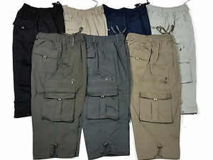 mens 3 4 cargo combat trousers loose fit shorts. Black Bedroom Furniture Sets. Home Design Ideas