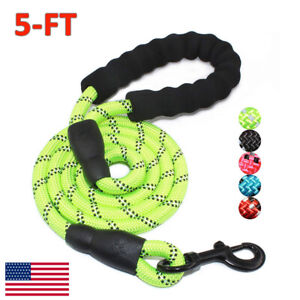5FT-Reflective-Threads-Strong-Dog-Leash-Lead-Rope-Training-Padded-Handle-Nylon