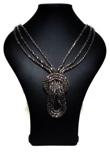 Black  Mesh Chain Braided Multi Strand Statement Chunky Bib Necklace 4e