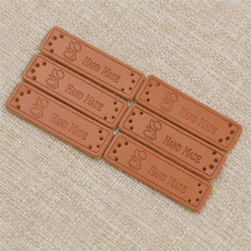 Pack of 50 Brown PU Leather Labels Different Design Sew Hand Craft Supplies Tags