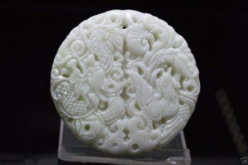 Hot natural jade China hand carved Dragon phoenix white Jade Amulet Pendant