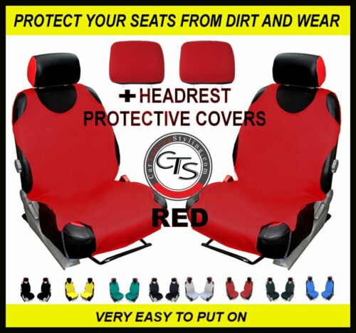 HEADREST RED FIAT PANDA QUBO CAR FRONT SEAT COVERS PAIR