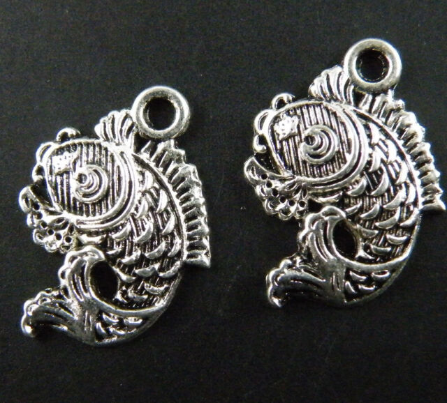 110pcs Tibetan Silver Nice Carp Fish Charms 17x12mm ZN29675
