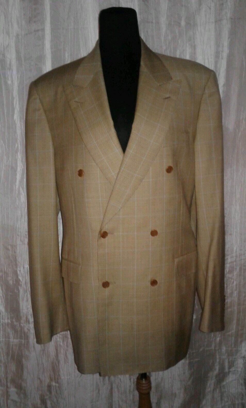 Canali Mens Blazer Italian Sz 52 7 Drop Houndstooth Plaid Brown Pure Wool MINT