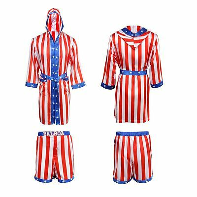 3e6b4532e26 Rocky Balboa Mens Movie Boxing Costume Robe and Shorts American Flag 1 Set  New