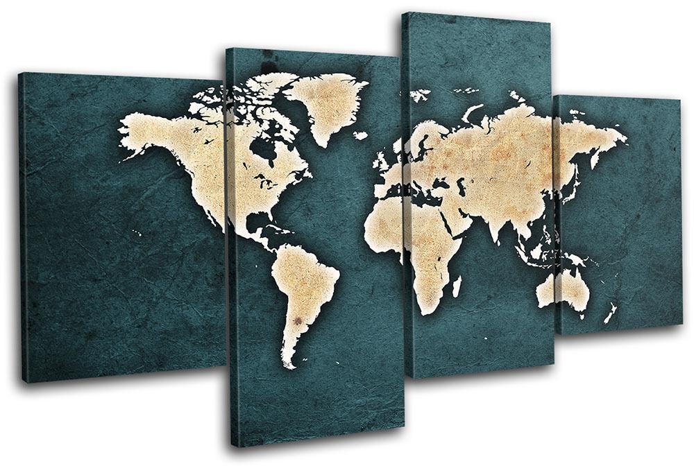 World Atlas Vintage Shabby Maps Flags MULTI Leinwand Wand Kunst Bild drucken