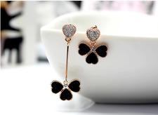Super Sparkling Black *Four-leaf Clover* Cubic Zirconia Stud Earring