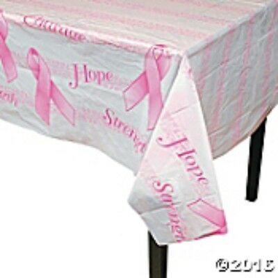 """1 PINK RIBBON Breast Cancer Awareness Plastic PINK RIBBON Table Cover 54"""" x 72"""""""