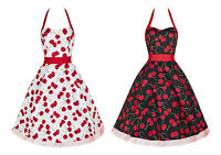 50s Retro Vintage Cherry Print Halterneck Party Swing Rockabilly Dress 8 -18