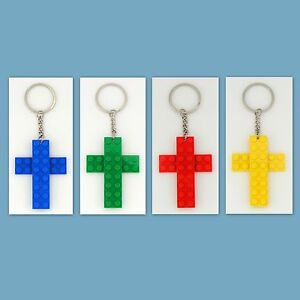 4-48-Lot-Key-Chain-with-Custom-LEGO-Cross-Pendant-Party-Favor-Game-Prize