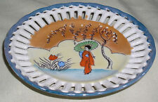 """Hand-Painted Japanese Woman in Kimono 6¼"""" Diameter Pierced Collector Plate"""
