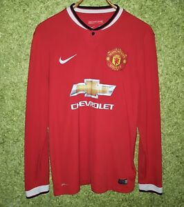 wholesale dealer 3dac0 072fb Details about MANCHESTER UNITED 2014 2015 HOME FOOTBALL SOCCER LONG SLEEVE  SHIRT JERSEY SIZE M