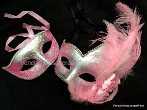 Silver Masquerade ball mask Pair Couple Sweet 16s Birthday Graudation Prom Party