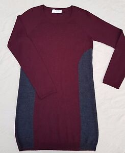 Grace-merino-wool-tunic-top-Red-amp-grey-Size-2-Great-condition