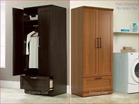 Tall Cabinet Cupboard Storage Organizer Wardrobe Laundry Clothes Closet Armoire