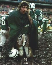 JOE NAMATH 8X10 PHOTO NEW YORK JETS NY COLTS PICTURE FOOTBALL ON PHONE IN MUD