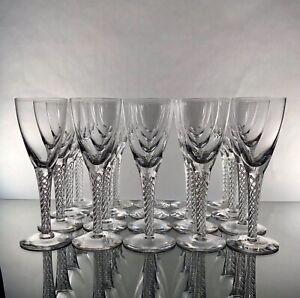 STUART-ENGLAND-ARIEL-Champagne-Flutes-Air-Twist-Stem-RARE-Perfect-Condition
