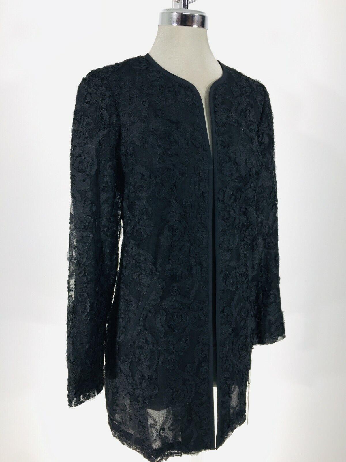 Karl Lagerfeld Paris Neu Elegant Schwarz Kimono Jacke Blause XS S