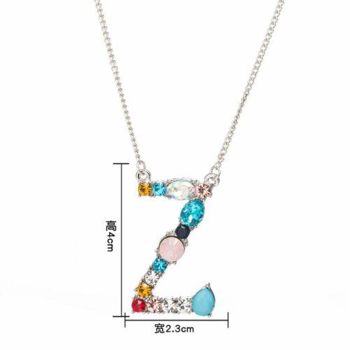 Femmes Colorful Crystal initiale alphabet lettre A-Z Collier Pendentif Bijoux Cadeau