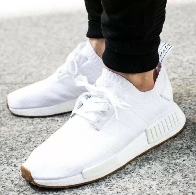 Adidas NMD R1 PK Primeknit Triple White GUM PACK Nomad BY1888 Mens Shoes  Sz 7