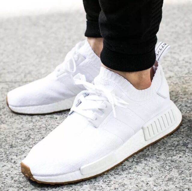 Adidas NMD R1 PK Primeknit Triple White GUM PACK Nomad BY1888 Men s Shoes  Sz 8 ed02cffdfea9