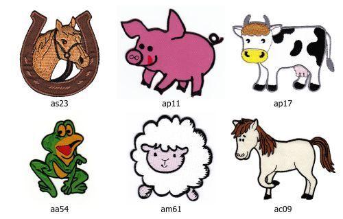 Set #013 granja Patch 6 trozo de perchas imágenes caballo cerdo vaca oveja Pony DIY