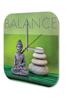 Rationeel Wanduhr Retro Motiv Buddha Balance Acryl Dekouhr Vintage