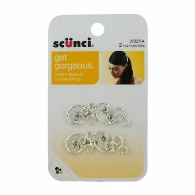 Scunci 37227-A 2pcs Silver Barrette Hair Clip