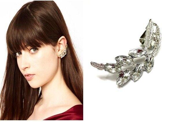 Fashion Punk Silver Tone Leaf Crystal Cuff Clip Ear Stud Earring Left Ear 1PC