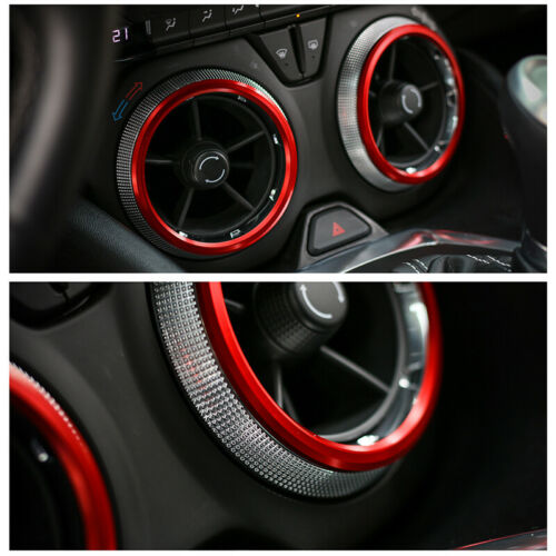 4x Red Air Condition Vent Outlet Ring Cover Trim Decor For Chevrolet Camaro 17+