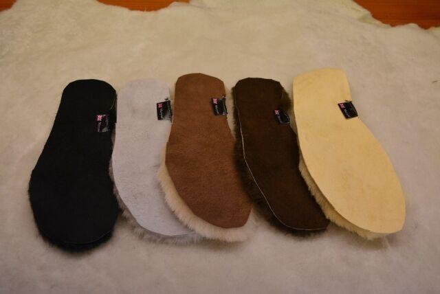 Sheepskin insoles genuine black, white, brown real soft wool  women men