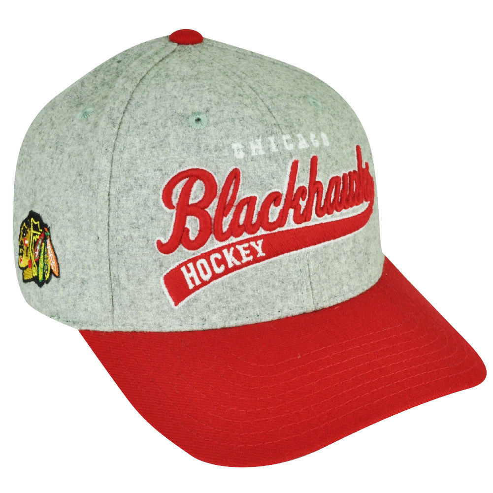 NHL Américain Aiguille Blackhawks Chicago Blackhawks Aiguille Snapback Gray Laine Feutre Courbé 90b072